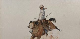 Curtis Wingate Winning Ride rodeo cowboy bronco horse bucking western watercolor painting