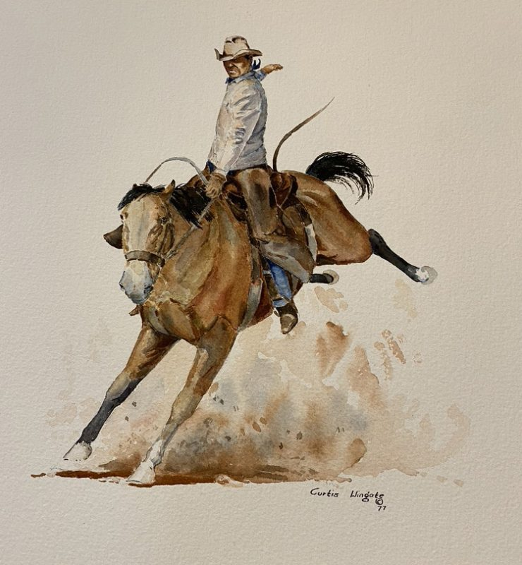 Curtis Wingate Winning Ride rodeo cowboy bronco horse bucking western watercolor painting close up