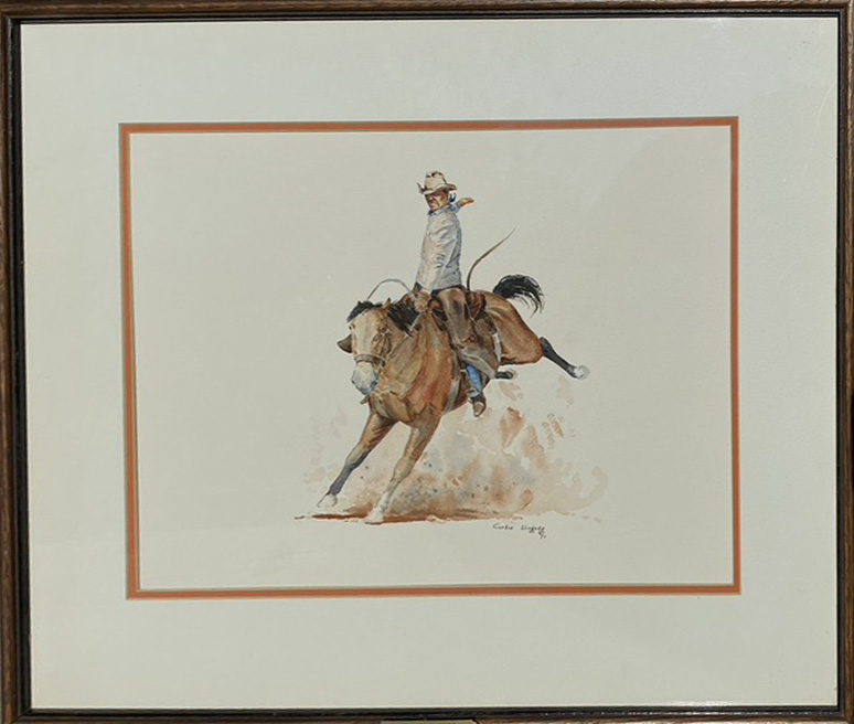 Curtis Wingate Winning Ride rodeo cowboy bronco horse bucking western watercolor painting framed