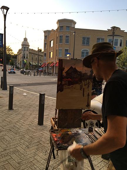 Daniel Gerhartz painting on location Bierhaus plein air artist painter painting