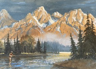 Gerry Metz First Light on the Snake Grand Teton National Park Jackson Hole Wyoming fly fisherman gouache watercolor painting