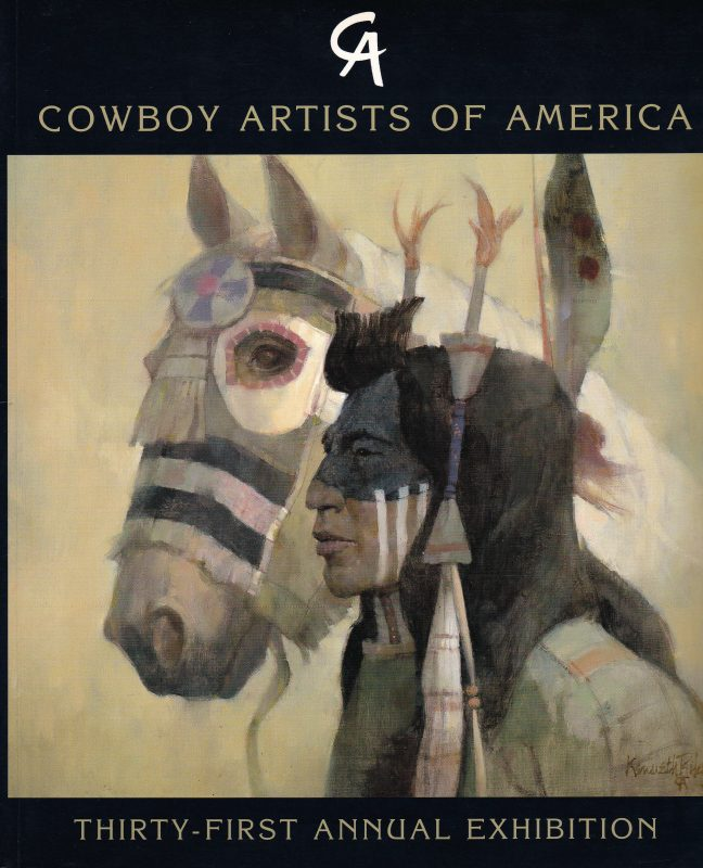 1996 Cowboy Artists of America show catalog Ken Riley As One cover image western Native American painting