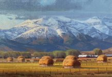 Michael Albrechtsen Timing snow landscape hay bales western oil painting