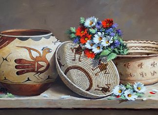 Rose Ann Day Ageless Abundance Native American still life painting artifacts pottery basket Acoma Pueblo Hohokam western oil painting