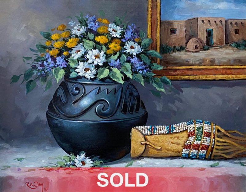 Rose Ann Day Ancestral Abundance Santa Clara pot Native American pottery beaded bag wester still life oil painting sold