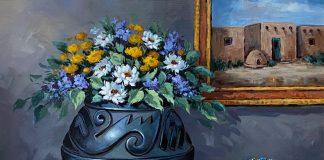 Rose Ann Day Ancestral Abundance Santa Clara pot Native American pottery beaded bag wester still life oil painting