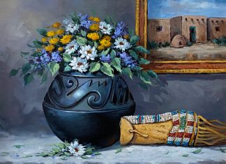 Rose Ann Day Ancestral Abundance Santa Clara pot Native American pottery beaded bag wester still life oil painting