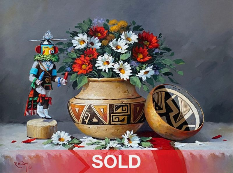 Rose Ann Day Native Treasures still life painting Native American pottery Papago basket oil painting sold