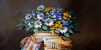 Rose Ann Day Remnants Of The Day Native American still life pottery beaded bag daisy daises flowers western oil painting