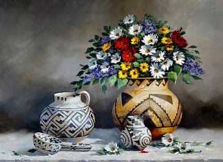 Rose Ann Day Vibrant Jewels Native American still life pottery flowers daisy western oil painting