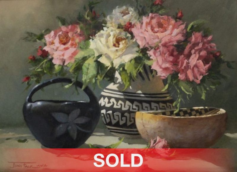 """Joni Falk - """"Rose Petals And Pottery"""" still life flowers Native American pottery sold"""