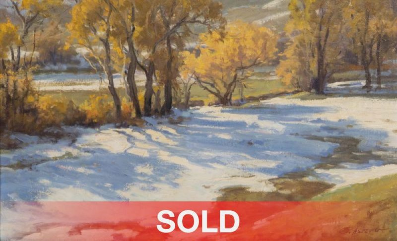 """Clyde Aspevig """"Blue Shadows"""" snow trees western landscape oil painting sold"""