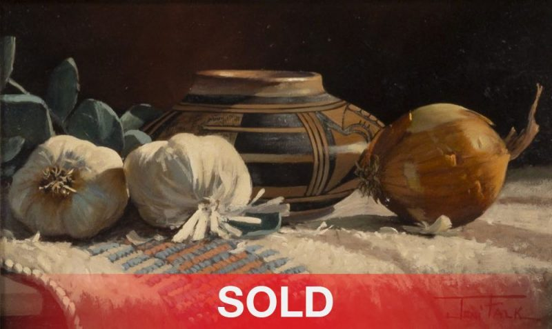 """Joni Falk - """"A Touch Of Sunlight"""" still life oil painting Native American pottery"""