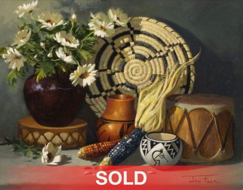 "Joni Falk - ""Silent Relics"" still life Native American pottery basket flowers corn drum sold"