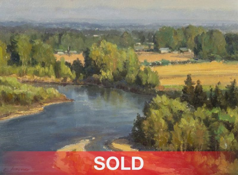"""Clyde Aspevig  """"Flathead Valley"""" stream river landscape oil painting sold"""