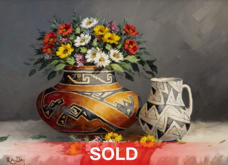 Rose Ann Day Native Designs Native American pottery flowers still life oil painting