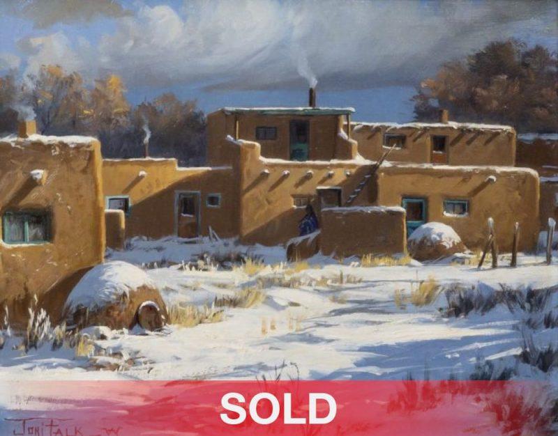 """Joni Falk - """"Taos Pueblo - Winter"""" architecture New Mexico snow sold"""