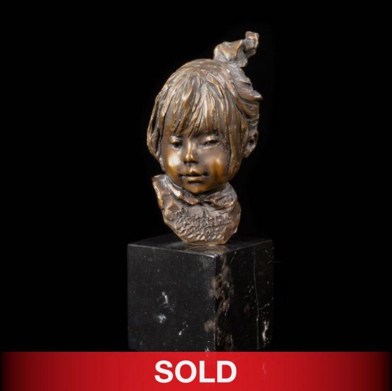 Glenna Goodacre Eloise girl bust head bronze sculpture sold