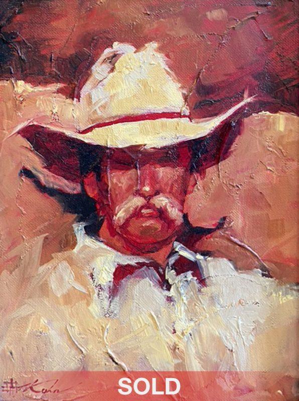 Andre Kohn Walter cowboy portrait western oil painting