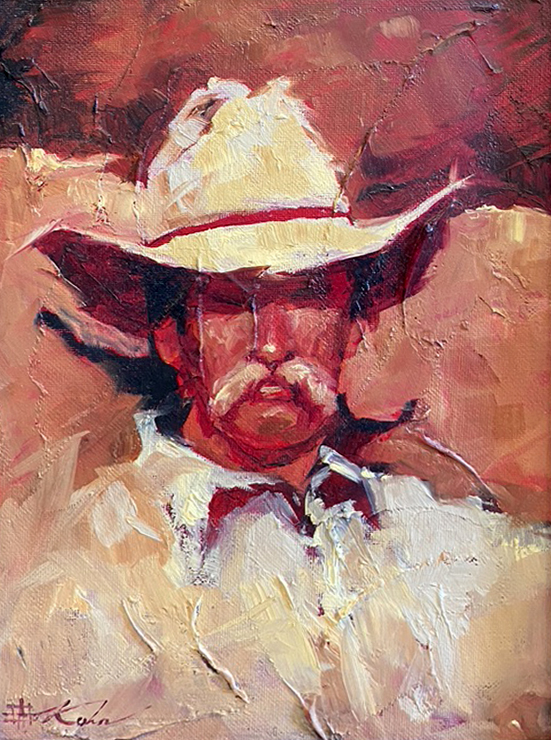Andre Kohn Walter cowboy portrait western oil painting