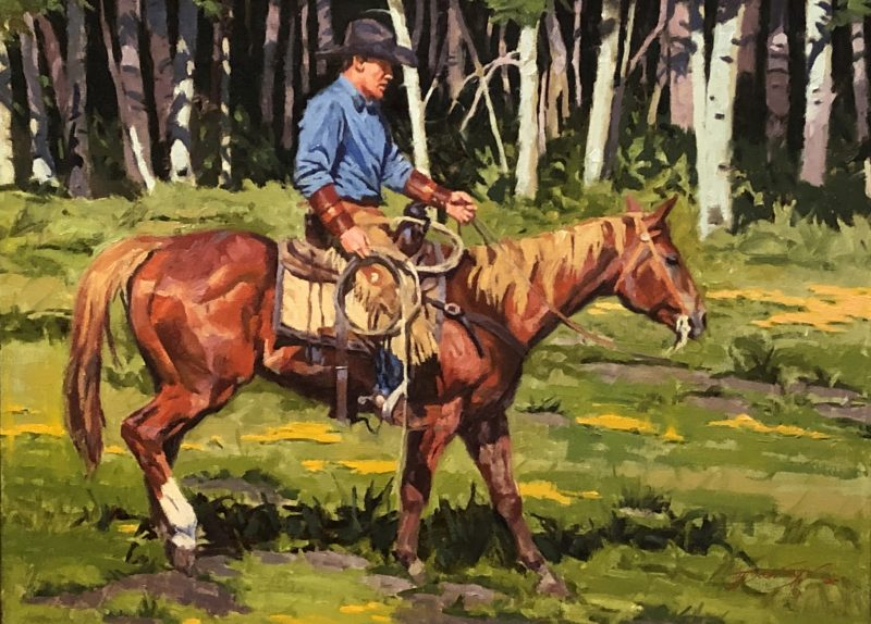 Dean St. Clair Drawin' Summer Wages cowboy horse equine forest aspen western oil painting