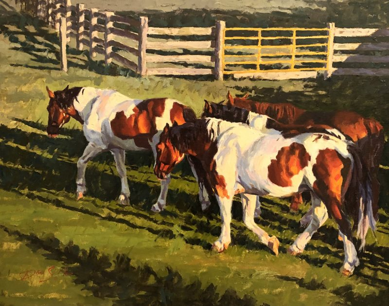 Dean St. Clair Morning Sun horses corral ranch farm paint horse western oil painting