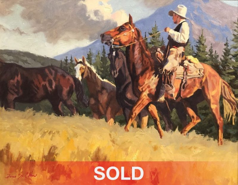 Dean St. Clair Mountain Meadows cowboy horse mountains pine tree western oil painting
