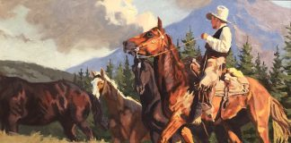 Dean St. Clair Mountain Meadows cowboy horse mountains pine tree western oil painting