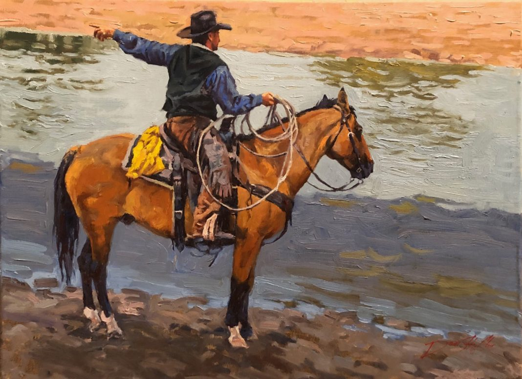 Dean St. Clair He Went Thataway cowboy horse water lake pond western oil painting