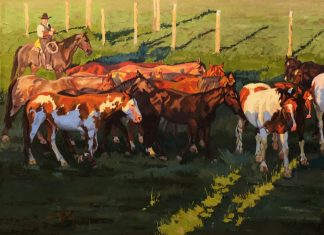 Dean St. Clair Los Caballos cowboy corral horses western oil painting
