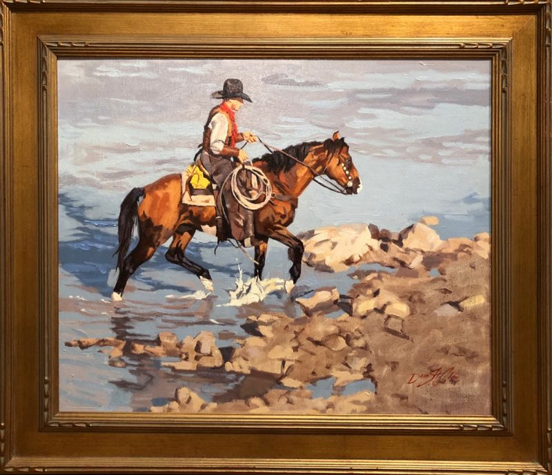 Dean St. Clair River Crossing cowboy horse water lake pond western oil painting framed