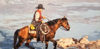 Dean St. Clair River Crossing cowboy horse water lake pond western oil painting