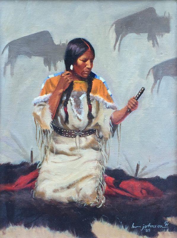 Harvey Johnson Blackfoot Beauty Native American woman girl tipi tee pee western oil painting Cowboy Artists of America