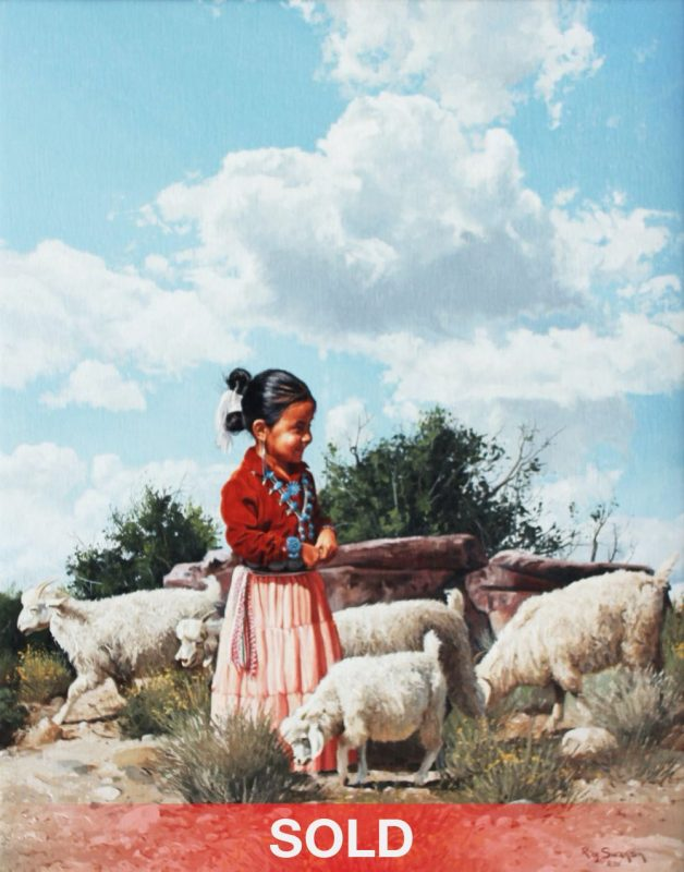 Ray Swanson Young Goat Herder Native American girl clouds western oil painting
