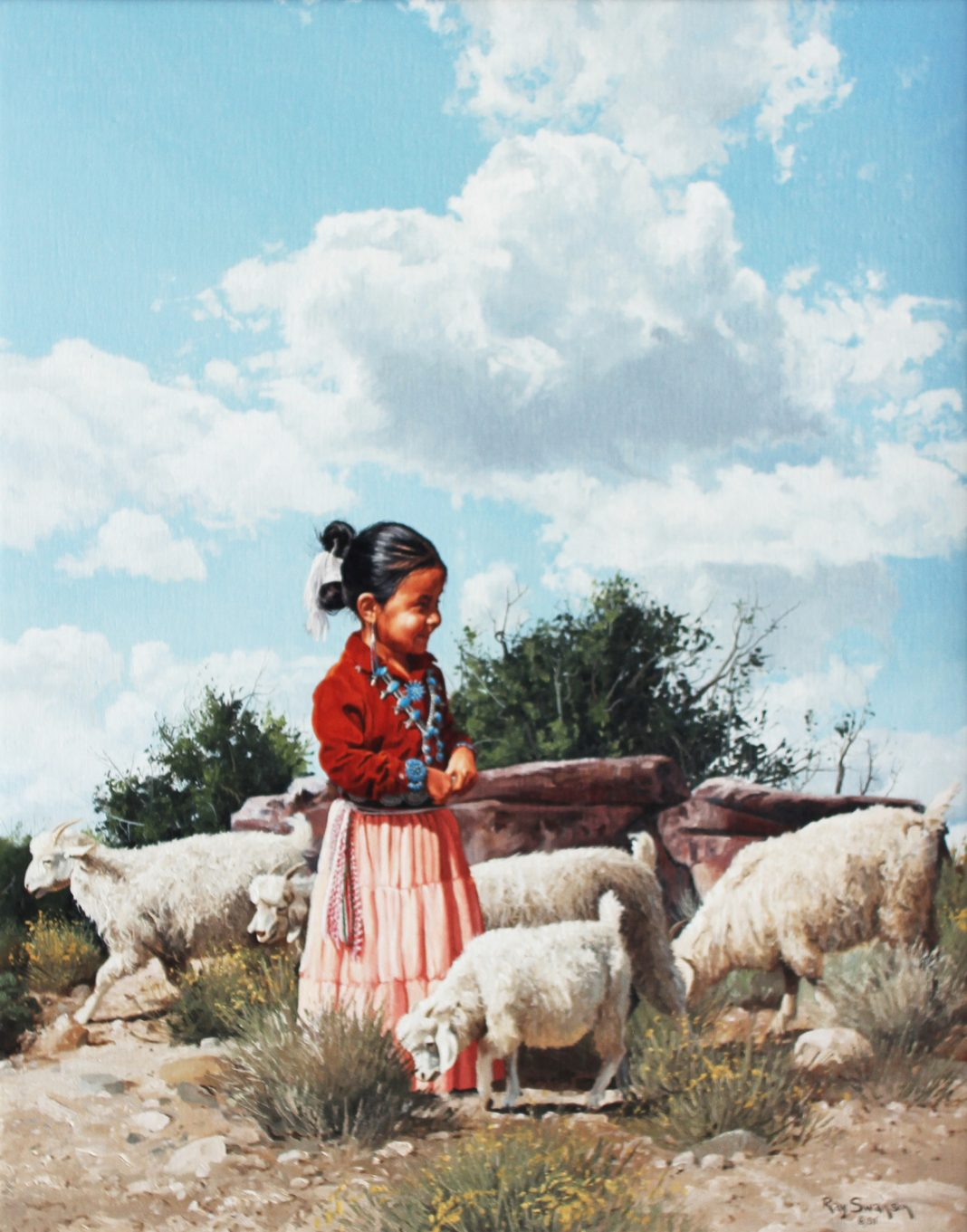 Ray Swanson Young Goat Herder Native American western girl sheep western oil painting landscape clouds