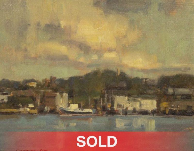 "Scott Christiensen - ""San Juan Island"" boat water lake dock cloud oil landscape seascape painting sold"