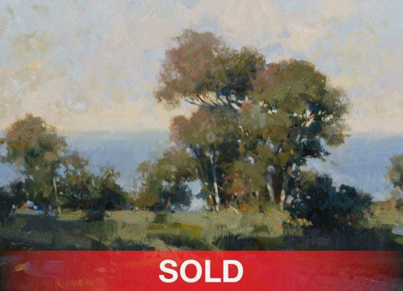 "James Reynolds (1926 - 2010) - ""La Jolla"" California landscape plein air trees western oil landscape painting sold"