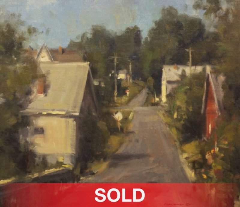 "Scott Christensen - ""New England Town"" architectural street houses oil landscape painting town sold"