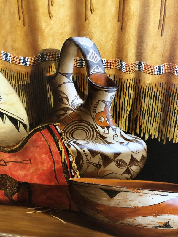 Chuck Sabatino Southern Cheyenne Dress still life Native American oil painting Crow flat case Acoma wedding vase Zia bowl oil painting close up