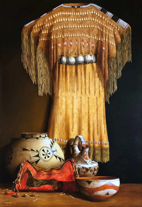 Chuck Sabatino Southern Cheyenne Dress still life Native American oil painting Crow flat case Acoma wedding vase Zia bowl oil painting