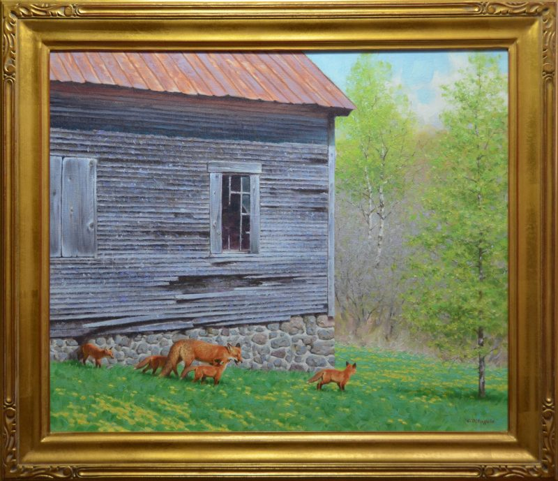 Claudio D'Angelo The Sold Scholl House Fox Family wildlife oil painting framed