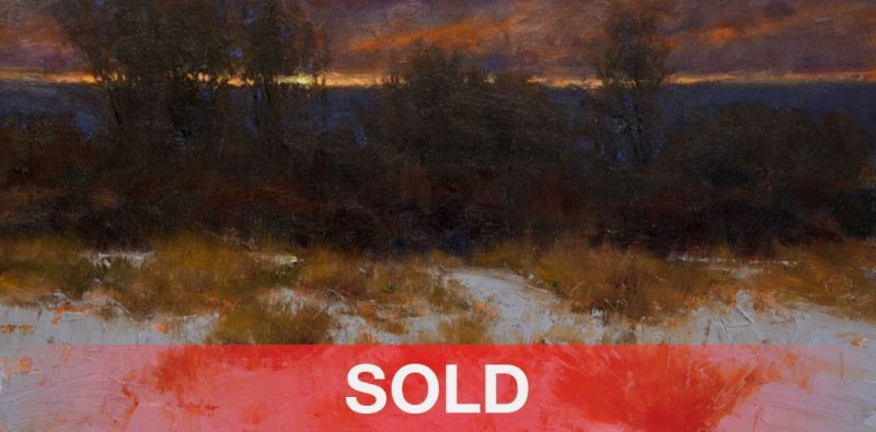 Dan Young Closing Of The Day snow landscape trees Colorado sunset western landscape oil painting
