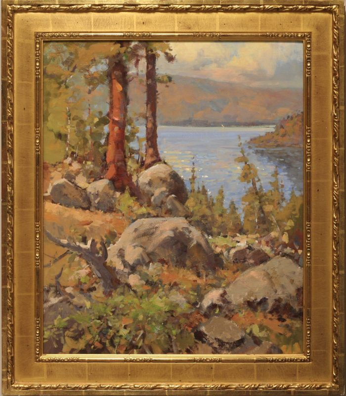 Gene Costanza Over Emerald Bay Lake Tahoe Nevada lake trees mountains rocks western landscape oil painting framed