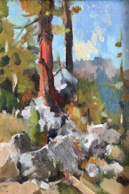 Gene Costanza Over Emerald Bay Lake Tahoe Nevada lake trees mountains rocks western landscape oil painting study