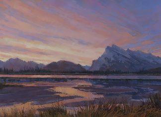 Darcie Peet Kaleidoscope Dawn Banff Canadian Rockies Vermilion Lakes Mt. Rundle landscape oil painting