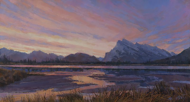 Darcie Peet Kaleidoscope Dawn Banff Canadian Rockies Vermilion Lakes Mt. Rundle landscape oil painting