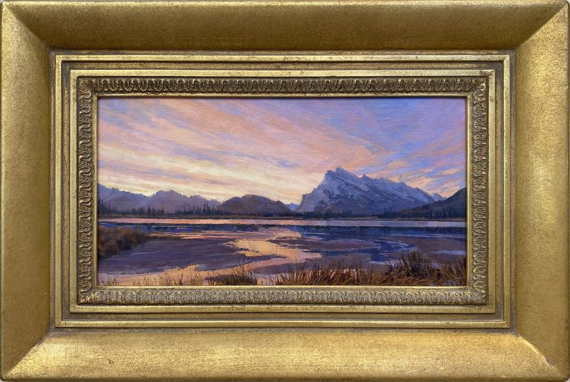 Darcie Peet Kaleidoscope Dawn Banff Canadian Rockies Vermilion Lakes Mt. Rundle landscape oil painting framed