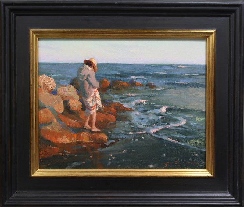 Hsin Yao Tseng Santa Cruz Sunset seascape landscape California beach figure woman ocean oil painting framed