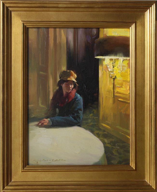 Hsin Yao Tseng Waiting Room girl woman lamp light figure figurative dim lit room oil painting framed