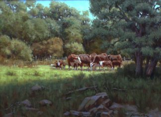 John Cox A Summer Day cows ranch farm Texas western oil painting